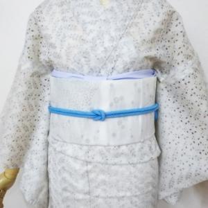 白いレースの綿キモノにケンタウロスのポリ京袋帯