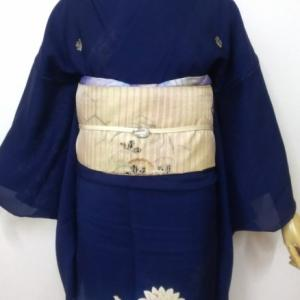紺青色のロマンな色留めと刺繍の絽丸帯