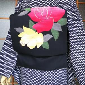 斜めライン錦紗小紋と薔薇の織り出し名古屋帯