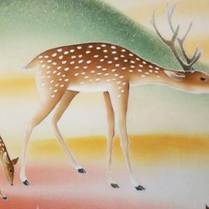 鹿の手描き両面袋帯
