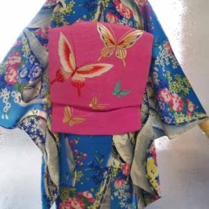 ターコイズ地カラフル花々の単衣に蝶の刺繍絽二部式名古屋帯