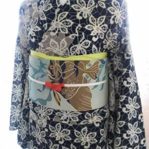 刺繍入り熱帯魚の絽名古屋帯