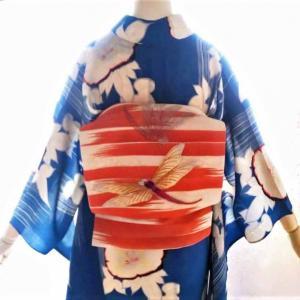 朝顔の透かし入り単衣にトンボの刺繍絽二部式帯