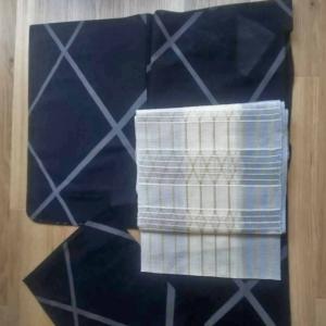 モノクロクールな紗とグレーグラデ透かし織り名古屋帯