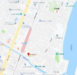 旧東海道沿いの坂本龍馬像