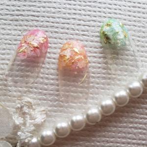 【チップ】花×ミラー×シースルーカラー