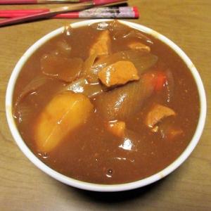 台風の中、カレー蕎麦でおうちお昼ごはん