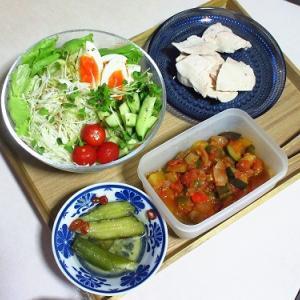 大盛サラダと蒸し鶏+αでジム前トレーニング食!&旅行に行ってイイ?