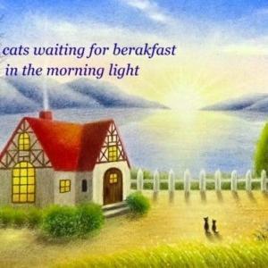 朝食を待つ間(パステルアート)と2月教室日程について