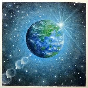 青く輝く地球(パステルアート)とソフトパステル24色講座9月モチーフ販売のお知らせ