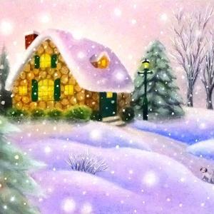 優しく降る雪(パステルアート)