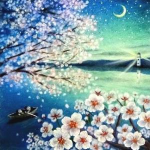 桜舞う星の夜に(パステル和アート)と2月ソフトパステルモチーフ販売のお知らせ