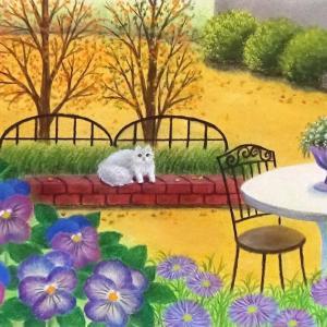 秋咲きパンジーの庭(パステルアート)