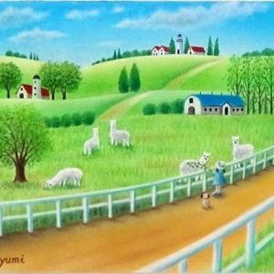 のどかなアルパカ牧場で(パステルアート)と5月教室日程について