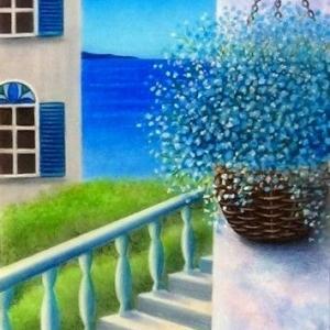 海が見える階段(パステルアート)と7月教室日程について