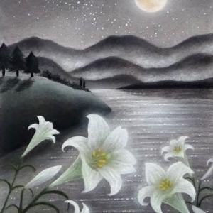 月明かりに咲く(パステルアート)と8月教室日程について