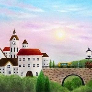 鐘の鳴る街(パステルアート)と9月教室日程のお知らせ