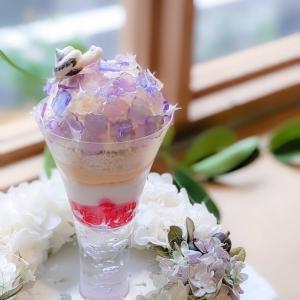 キラキラゼリーの紫陽花パフェ