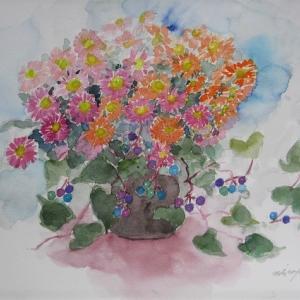 ノブドウと菊のコラボ