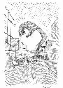 本日のシュール-喧噪のしじま4音(ミリペン画)