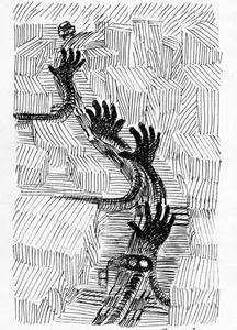 本日のシュール-喧噪のしじま6音(ミリペン画)