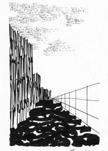 「本日のシュール-明暗」7意識(油性ペンとミリペン画)