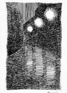 「本日のシュール」曲線シリーズ(ミリペンでの心象風景画)