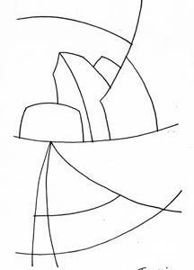 「本日のシュール-曲線」5、6、7、8、9つ(ミリペン画)