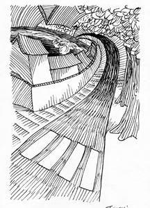 「本日のシュール-曲線」10(ミリペン画)