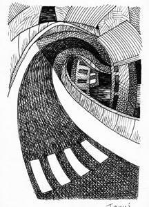 「本日のシュール-曲線」10と1つ(ミリペン画)
