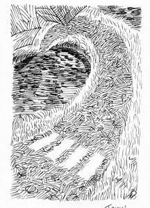 「本日のシュール-曲線」10と2つ(ミリペン画)