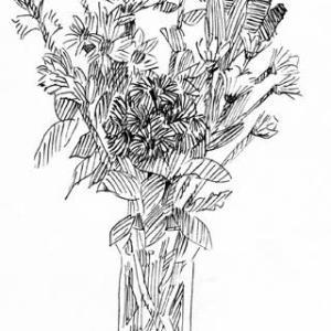 花(ミリペン画)