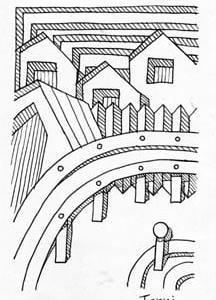 「本日のシュール-影箱的」3、4層(ミリペン画)