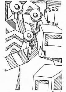 「本日のシュール-影箱的」10、11、12層(ミリペン画)