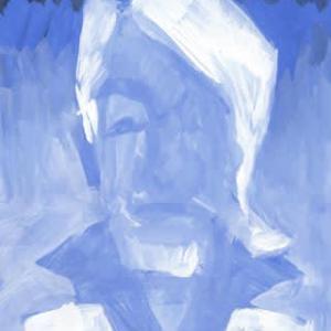 白と青紫と青みの黒(似顔絵)