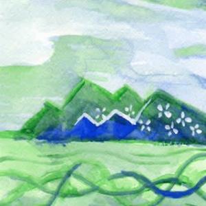 河の流れの交響曲(アクリル画)