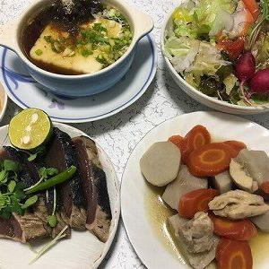 里芋と人参の煮物。大阪湯豆腐