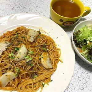 焼き蕪とトマトソーススパゲッティ
