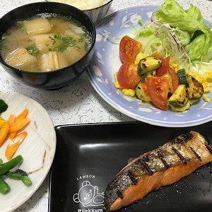 焼き鮭とオープンオムレツ