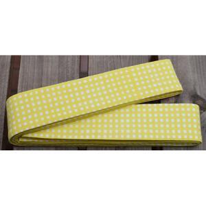 10103回 凧人オリジナル綿紬 袢纏帯 一分角通 黄色