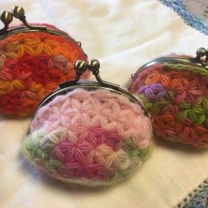 リフ編みがま口三姉妹