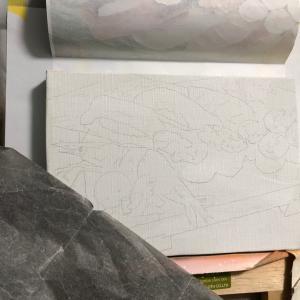 ●じんじぇるちゃんとお寿司?エアブラシ画の制作工程