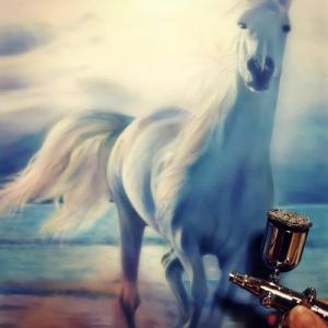 ●生徒さんの作品「馬(ラッセンの模写)」