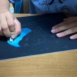 ●小学生チョークアートで名画を描く*