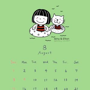 ●無料配布〜8月待ち受けカレンダー*