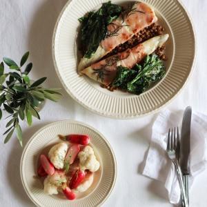 白身魚とレンズ豆