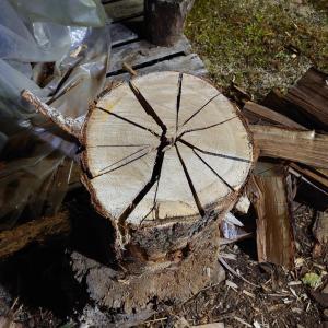自家用薪を手割で作る。