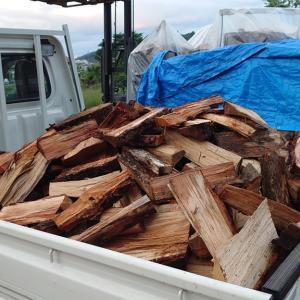 雨で建築工事はお休み。自家用薪作りしました。