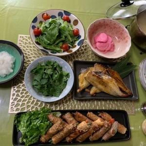 豚ロースの野菜巻き & 赤魚のうまみ干し~♡
