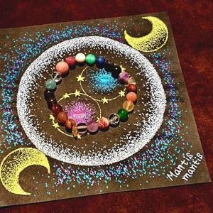 七夕の織姫と彦星のような星の雫マンダラ3作目初公開!ブレス作り体験山梨でプレゼントします